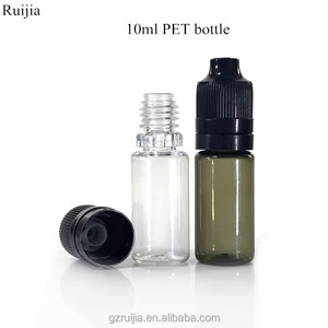 hot sale thin pet 10ml e liquid plastic dropper bottle with tamper-childproof cap inner plug