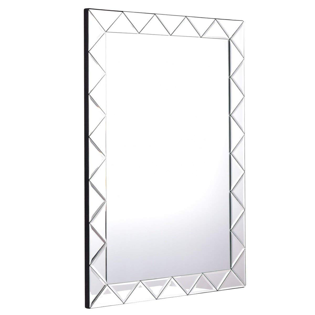 """Globe House Products GHP 21.5""""x30.5""""x0.5"""" MDF & Glass 1.25"""" Bevel & Back Flannel Rectangle Wall Mirror"""