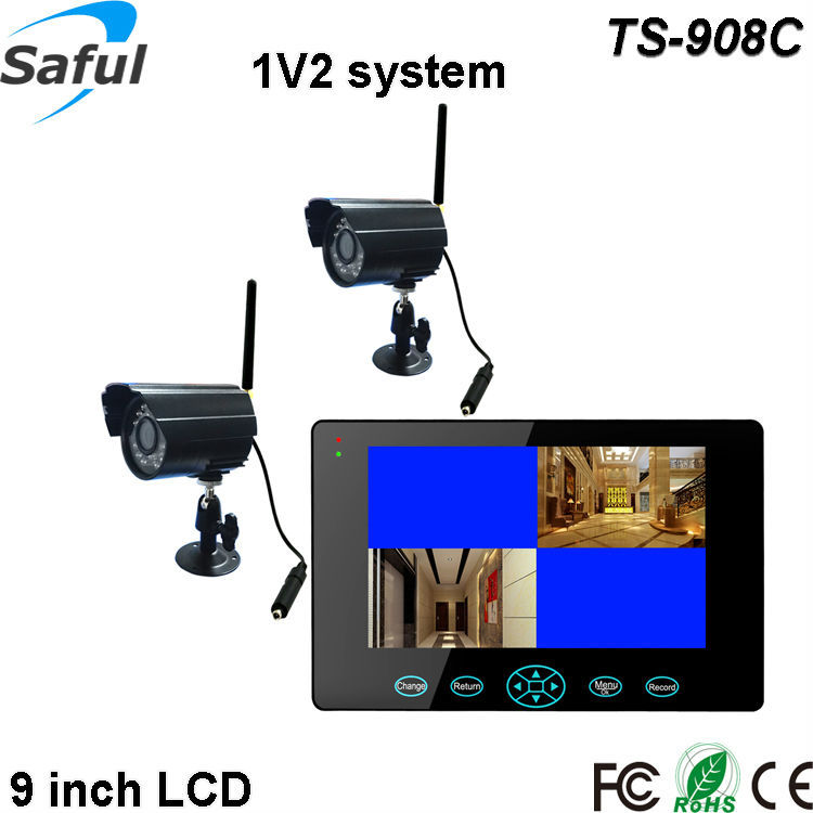 "High definition dual ways 9"" touch button wireless motion detection recording IR night vision camera and dvr system"