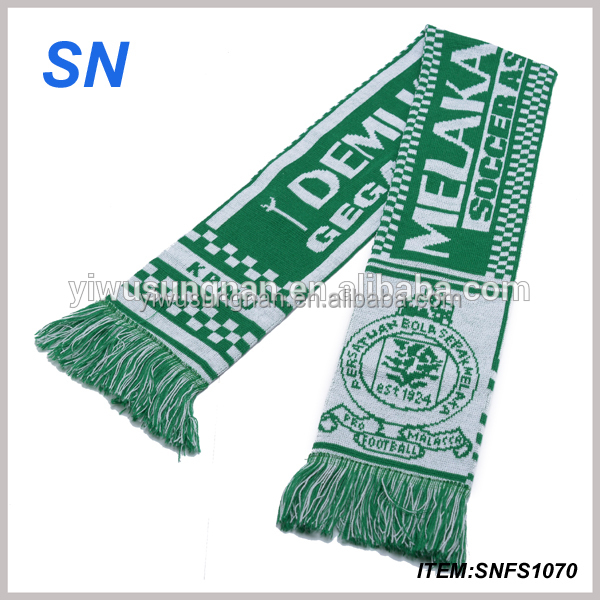 Polyester sports knitted soccer cheap football lower MOQ fan <strong>scarf</strong>