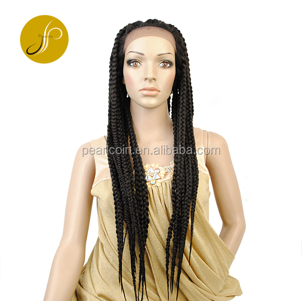 Fashionable Long Box Braids Medium-Sized Braided Cheap Price Full Lace Front <strong>Wigs</strong> High Temperature <strong>Synthetic</strong> <strong>Wigs</strong>