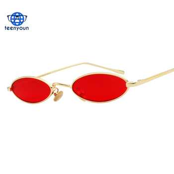 e74e17d753f0 2018 Brand Small Oval Sunglasses Fashion Metal Frame Men Clear Yellow Red  Vintage Sun Glasses Female