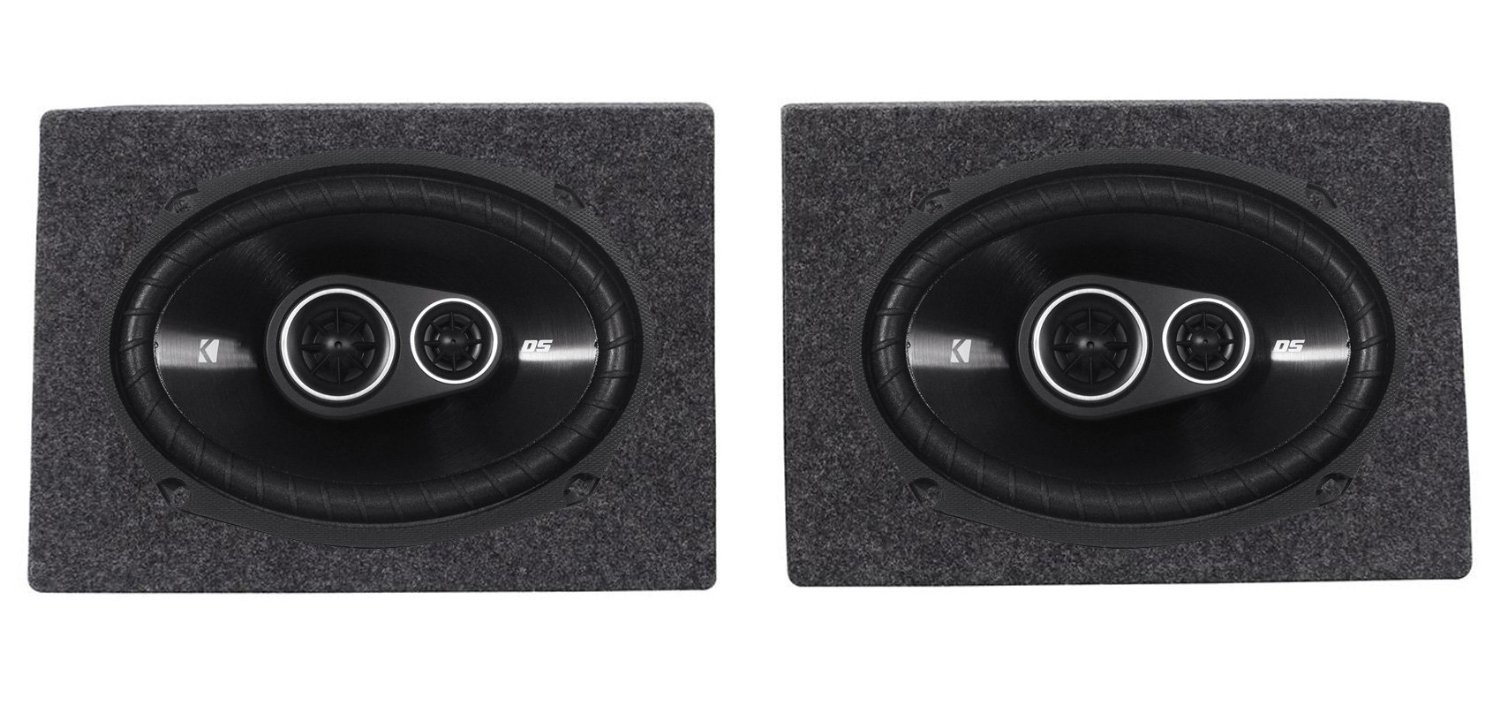 "Package: Pair of Kicker 43DSC69304 6""x9"" 3-Way Speakers Totaling 720 Watt With 4-Ohm Impedance + Rockville RS6X9PR (2) Single 6"" x 9"" Wedge Speaker/Subwoofer Enclosures"
