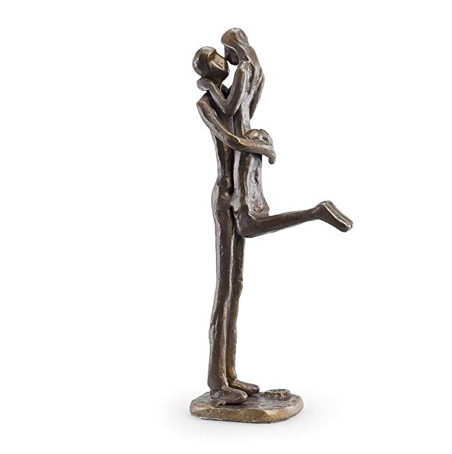 Contemporary Sand-Casted Bronze Sculpture Passionate Kiss