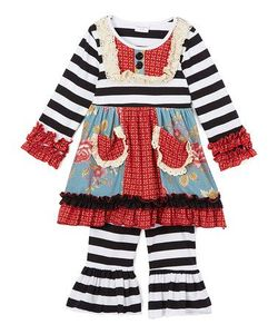 High quality Baby Girls Fall Winter boutique clothes Wholesale kids Clothing Sets Children Ruffle outfits