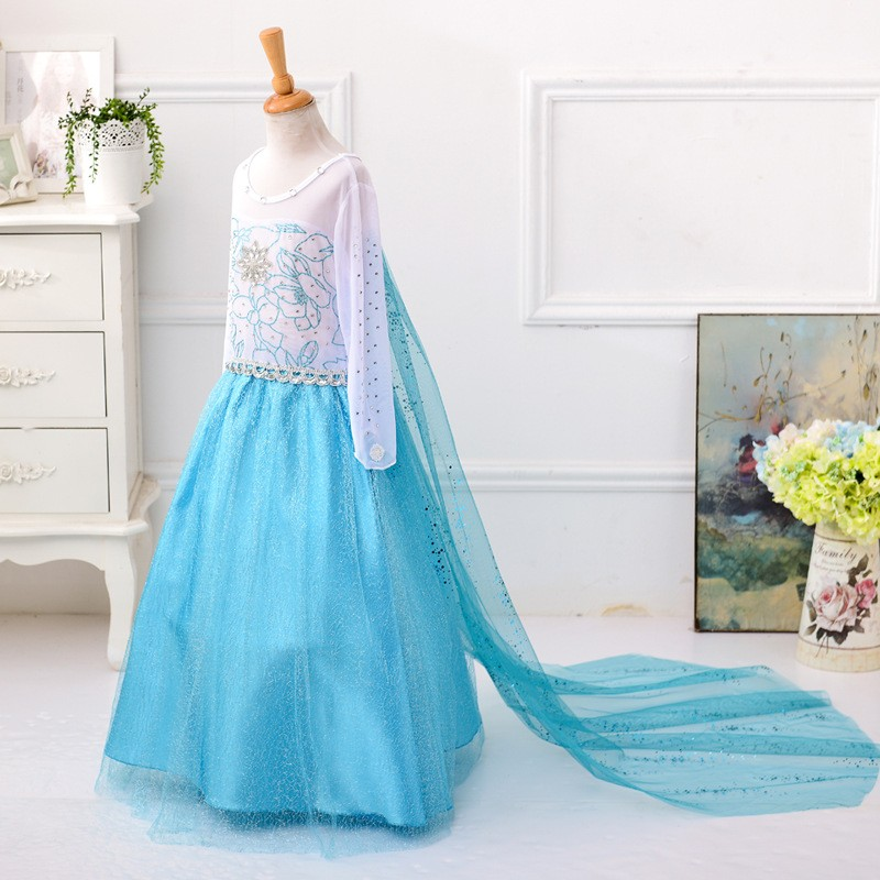 Anna and alsa princess frock design halloween costume long dress manufacturers china BX1689