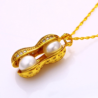 Xuping pearl necklace , gold 24K charm necklace, peanut pendant charm necklace for women