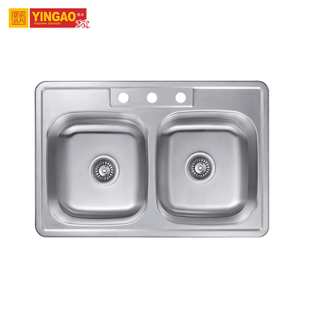 Factory double bowl sus304 ss Kitchen Sink handmade kitchen stainless sink