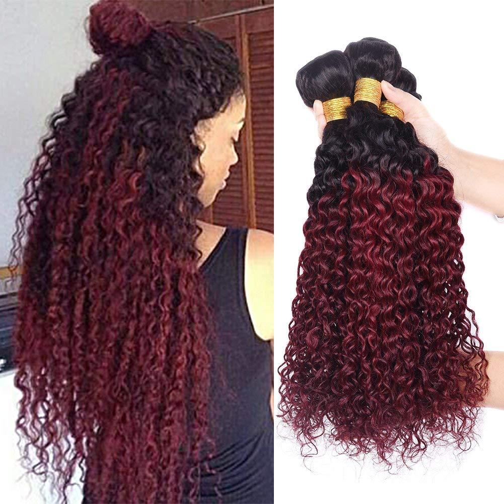 "Top Hair 8a Human Hair Peruvian Ombre Curly Hair 3pcs 14""16""18"" 100g/Bundle Red Curly Peruvian Virgin Curly Hair"