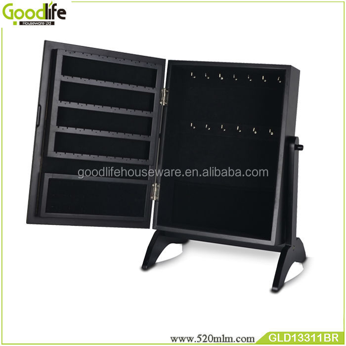 Top selling Wooden makeup box mirrored jewelry cabinet living room furniture from goodlife