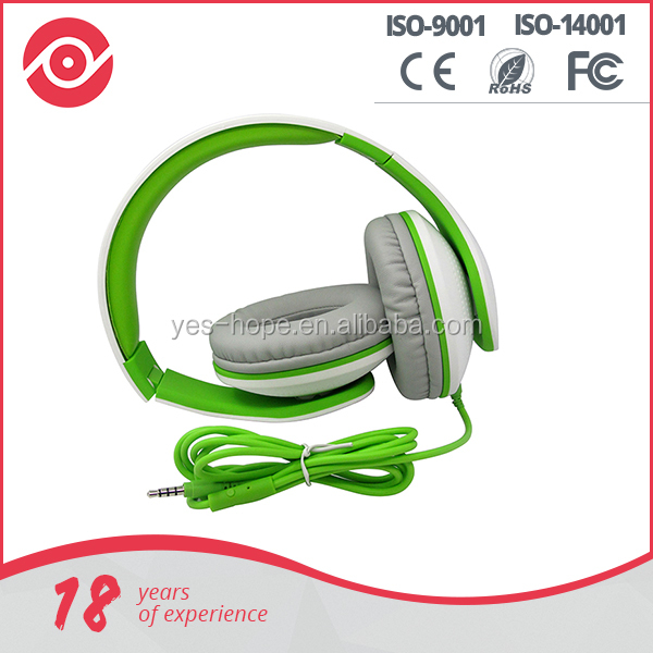Yes Hope Stereo folding portable headphone noise cancelling bass leather stretchable headband headset with In-line Mic