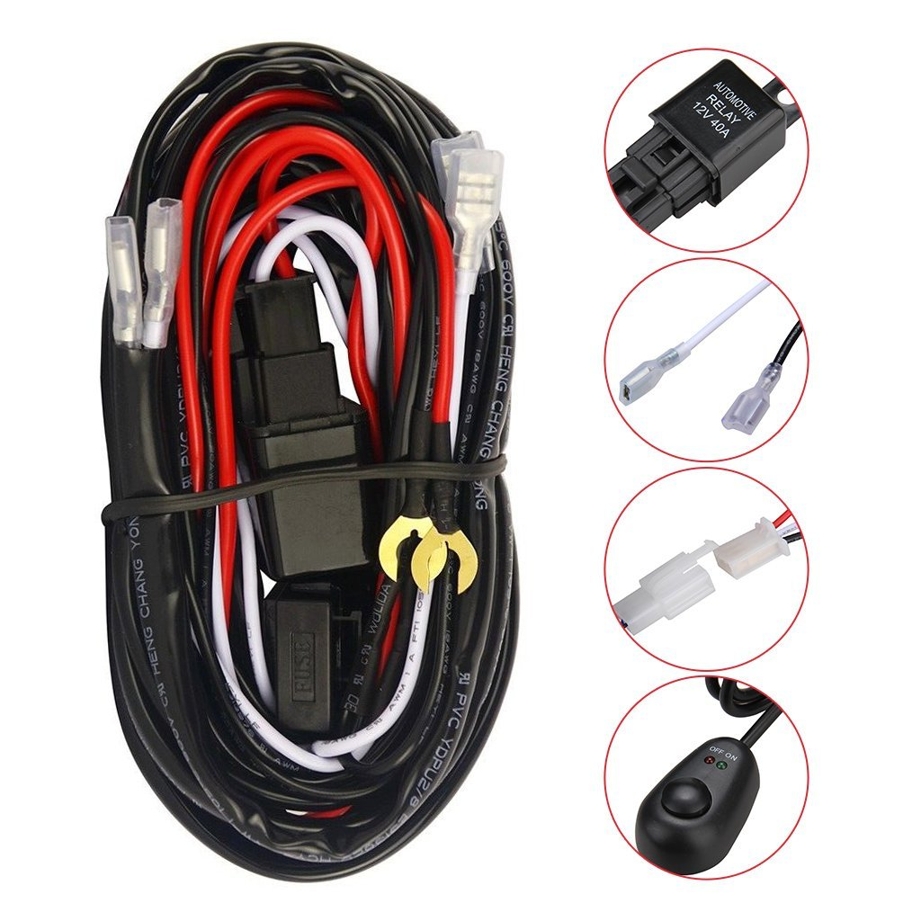 Cheap Driving Light Wiring Diagram Find Fog Harness Kit Get Quotations Excelvan Led Bar 12v 40amp Fuse Relay On Off Switch For