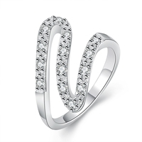 Geometric Design Ring,Casual Style Silver Plated & Zirconia Fashion Jewelry For Women Dress Accessories