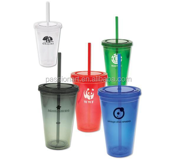 Customized double wall reusable plastic tumbler cup with straw