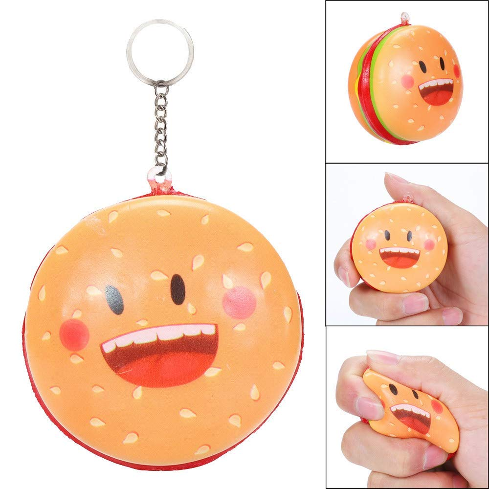 Euone Squishy Toy Clearance , Squishies Kawaii Cartoon Hamburger Slow Rising Cream Scented Keychain Stress Relief Toys
