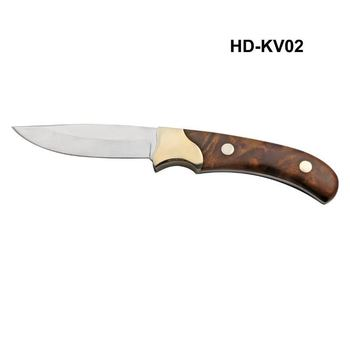 pocket knife with copper handguard and wooden handle