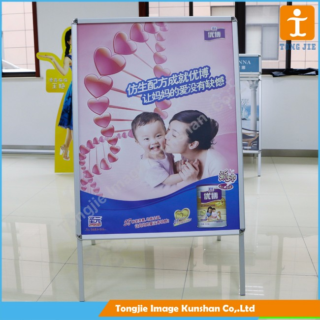 Sidewalk sign metal snap a frame stand board for advertising display