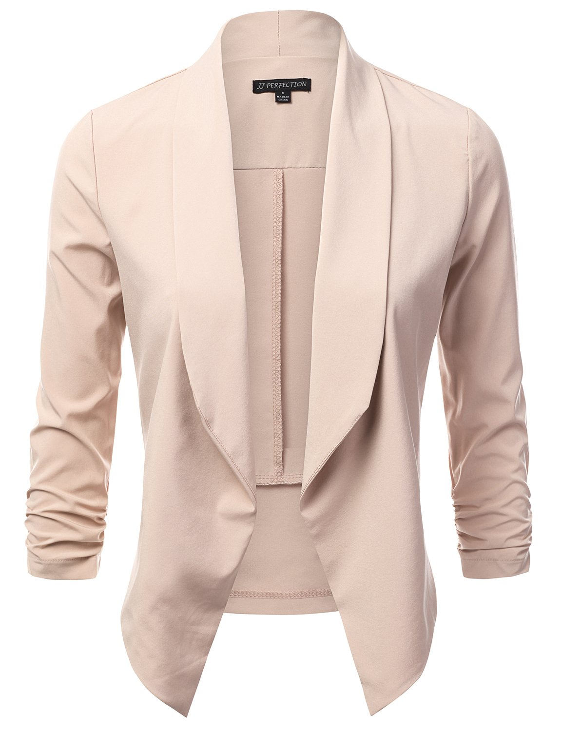 6cf4b354 Get Quotations · JJ Perfection Women's Lightweight Thin Chiffon Ruched  Sleeve Open-Front Blazer