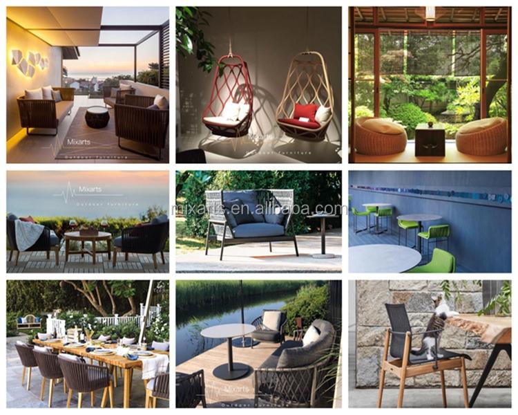 Üst tasarım sıcak satış halat dokuma bahçe mobilya seti açık sedir Güneş şezlong