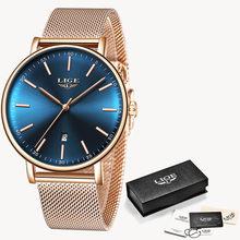 LIGE женские часы Топ бренд Роскошные водонепроницаемые часы модные женские ультра-тонкие повседневные наручные кварцевые часы из нержавеющ...(China)