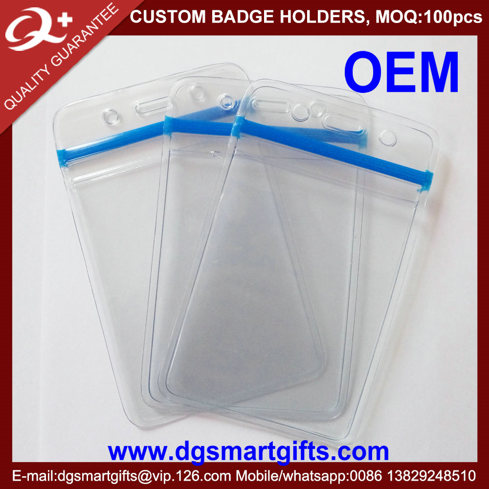 soft Clear PVC card holder with zip locker for exhibition