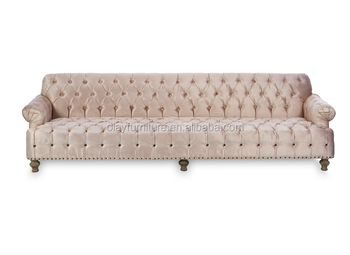French Country Style Chesterfield Sofa, Antique Pink Blush Tufted Sofa