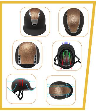 Custom Shimmer Black Adjustable Equestrian Riding Horse Helmet 19