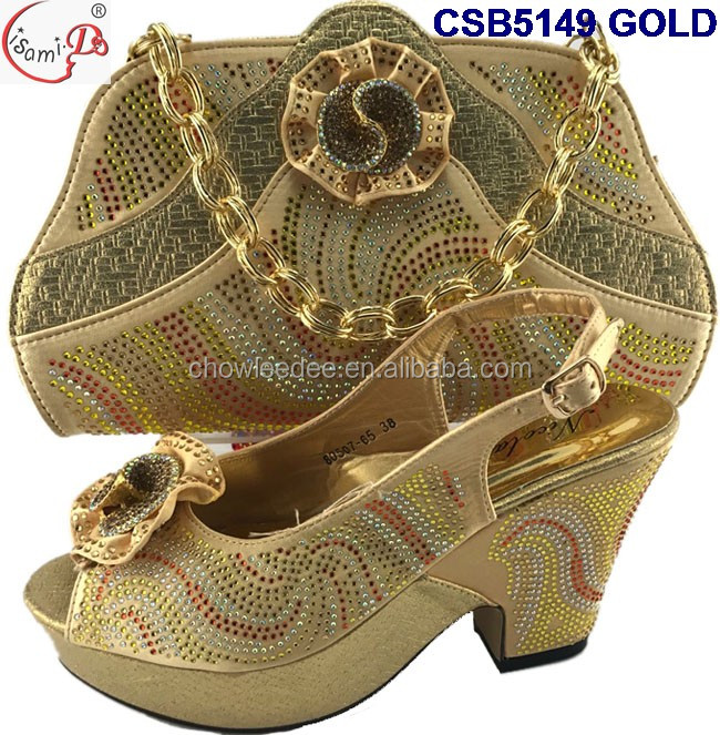 New Arrival high heel shoes and bag 2017 Top fashion wedding african middle heel party shoes and bag