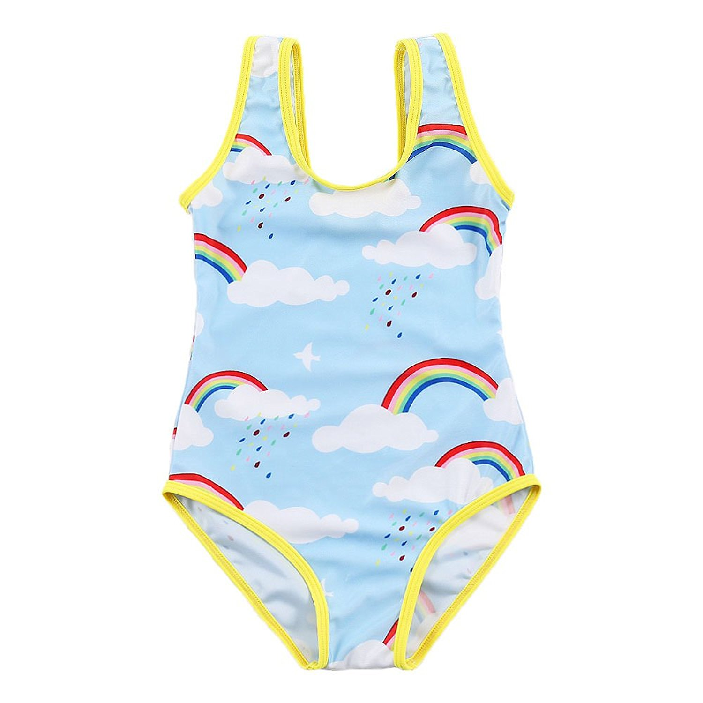 57aec1e98e5e5 Get Quotations · Genuo Little Girls Cute Rainbow Cartoon Print Pattern One  Piece Bikini Swimsuits