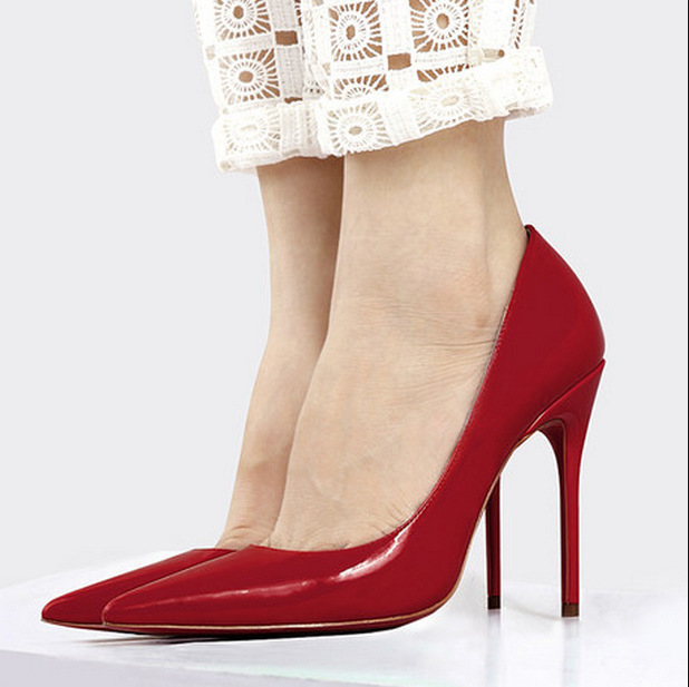 b337838ef08 Get Quotations · Plus size 35~44 High Heels Red Bottom Sole Shoes Pumps  Pointed Toe Patent genuine