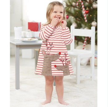 Toddler Christmas Outfit.2017 Baby Clothing Long Sleeve Fall Dress 1 5years Toddler Christmas Cute Striped Baby Deer Dress Buy Baby Girl Christmas Dresses Girls Clothing