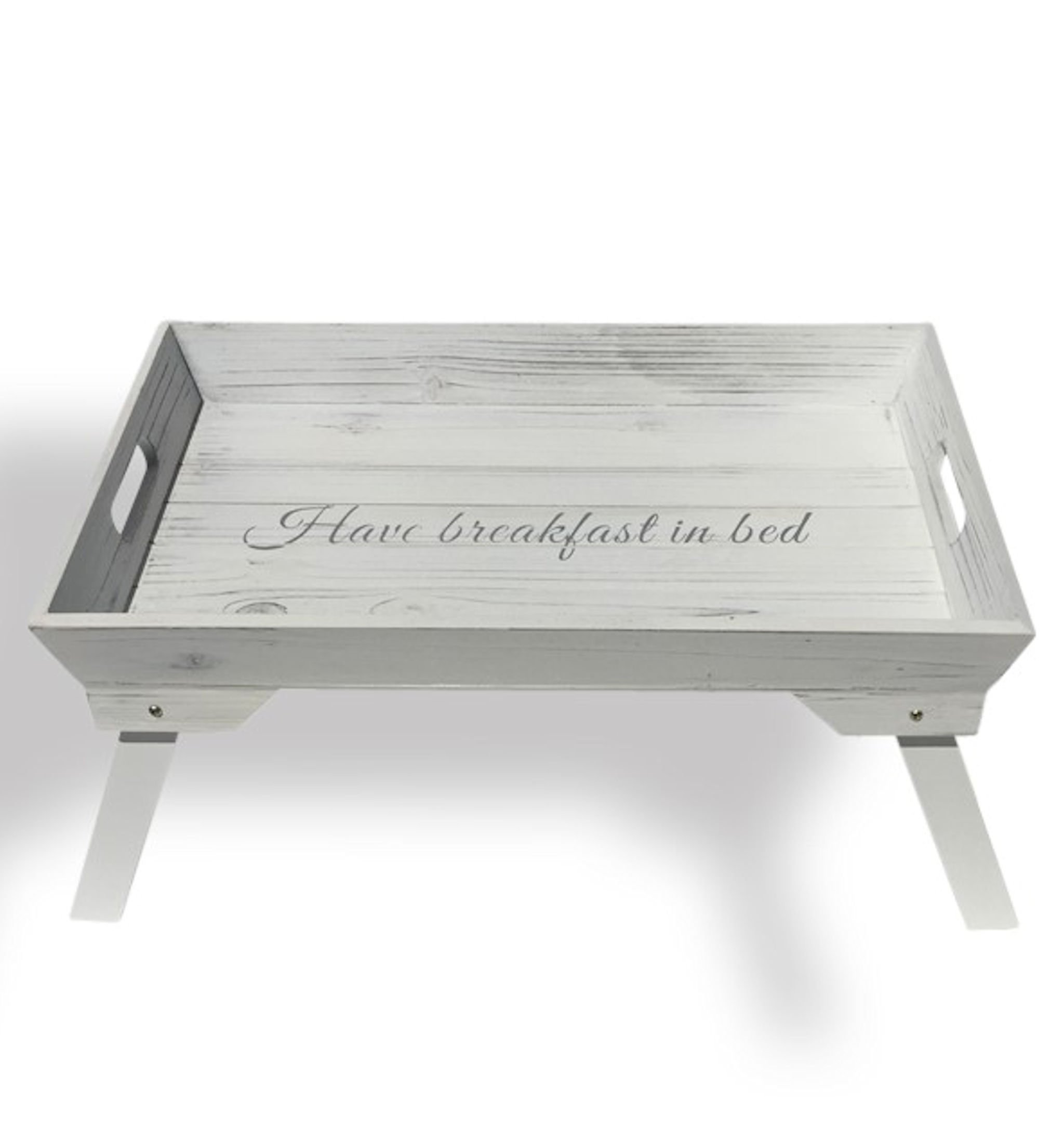 Whole House Worlds The Hamptons Have Breakfast in Bed Tray, White Wood, Folding Legs, 19 x 12 ½ x 9 ½ Inches, By