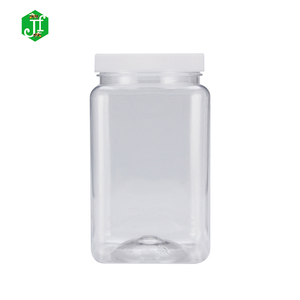 89mm 1000ml plastic jar empty clear jar with black cap wholesaler storage jar