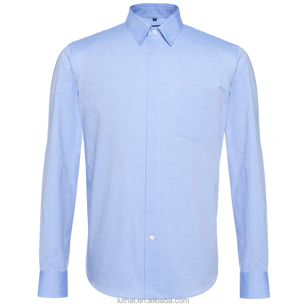 classic solid long sleeve men cotton shirt
