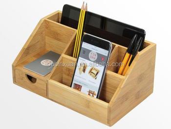 2015 new design 100% bamboo Organiser Tidy Stationery storage Box with drawer multifunction Desk Organiser & 2015 New Design 100% Bamboo Organiser Tidy Stationery Storage Box ...