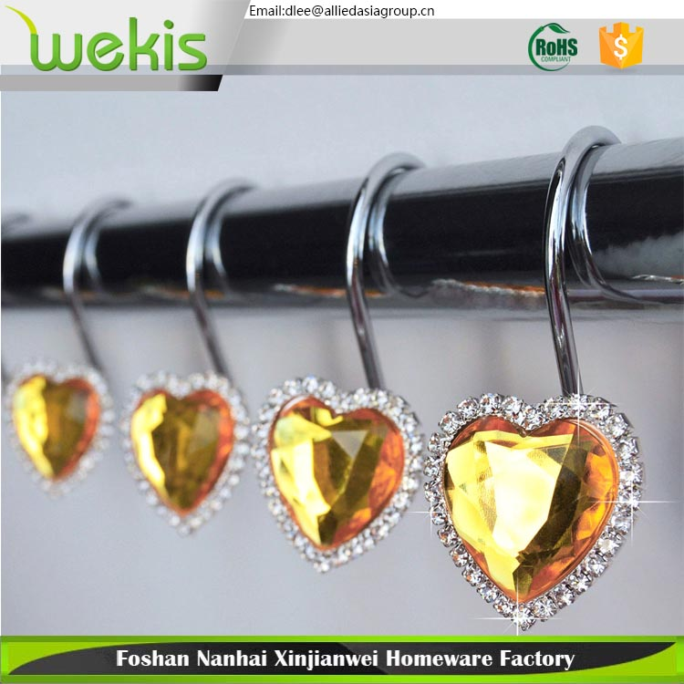 Good Price Rustproof Fashion Design Metal Shower Curtain Eyelet Rings Hooks Set