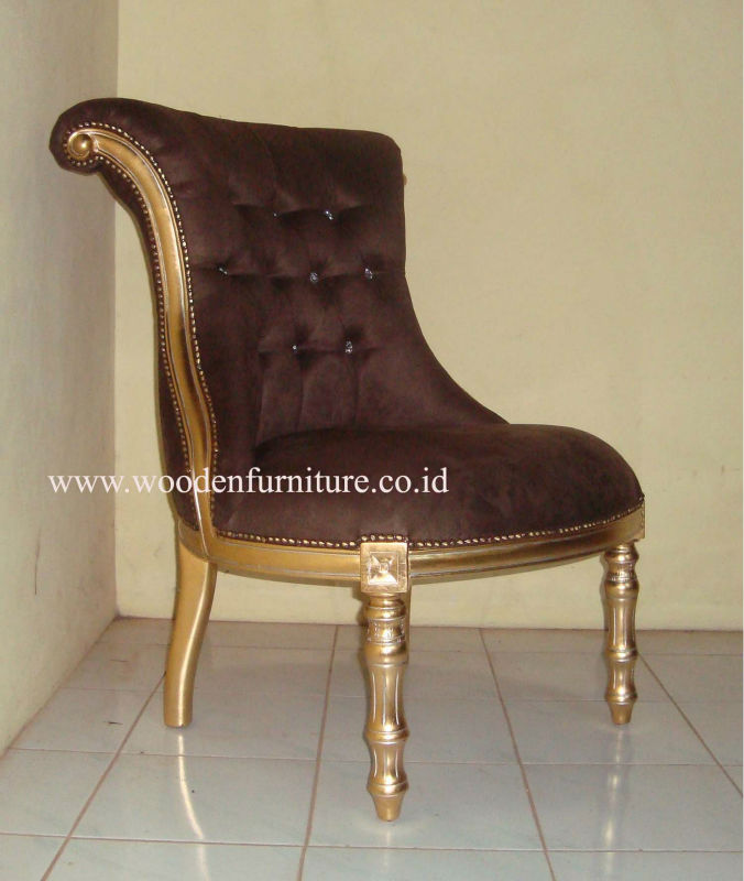 Golden Living Room Sofa One Seat Antique Reproduction Chair Solid Wood Mahogany Painted Sofa Classic Home Furniture