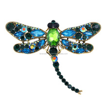 Yiwu factory Newest Crystal Vintage Dragonfly Brooch