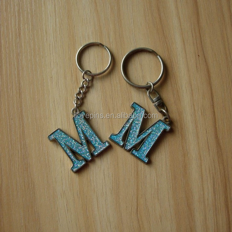 Promotional Alphabet Letter M Keychain with Glitter Wholesale