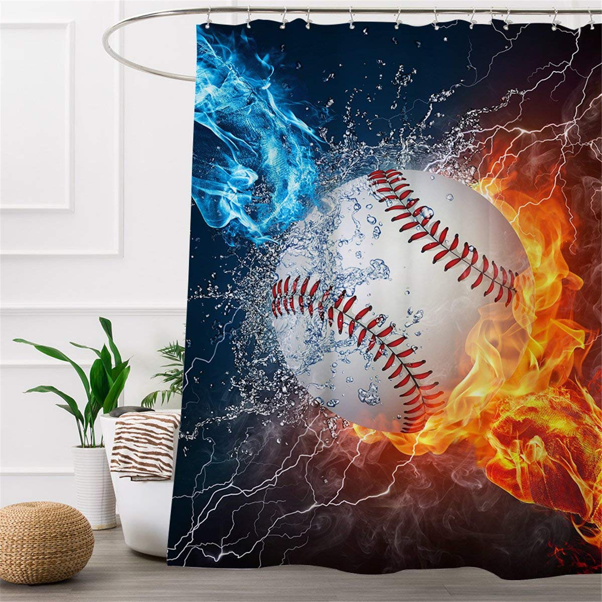 ARIGHTEX Baseball Shower Curtain Sports Decor Set Fist In Fire And Ice Bathroom