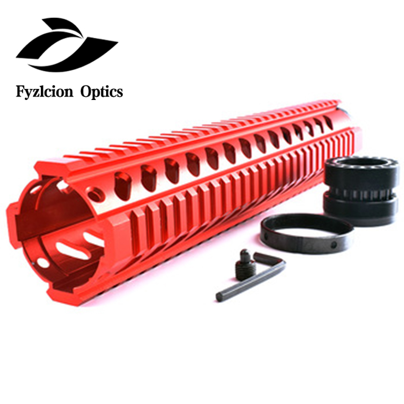 Red 12 Inch Free Float Quad Picatinny Rail Handguard Installs On Standard Carbine Length AR15 M16 Rifles