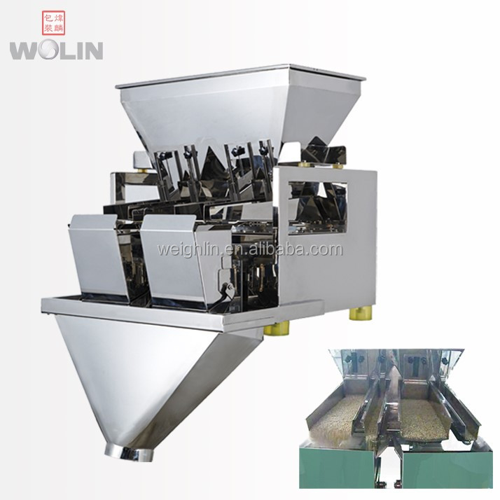 Plug to Run Automatic 1 2 head linear weighing scale doser weigher for big larger weight 5kg 10kg rice seeds nuts pet food <strong>grain</strong>