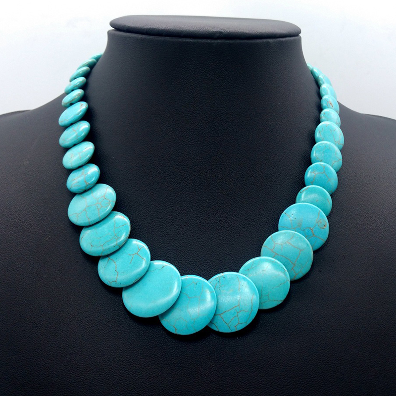 Chunky natural turquoise stone necklace jewelry