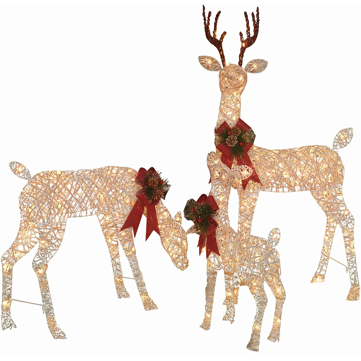 get quotations holiday time christmas decor set of 3 woodland vine deer family sculpture - Pre Lit Polar Bear Christmas Decoration Set Of 3