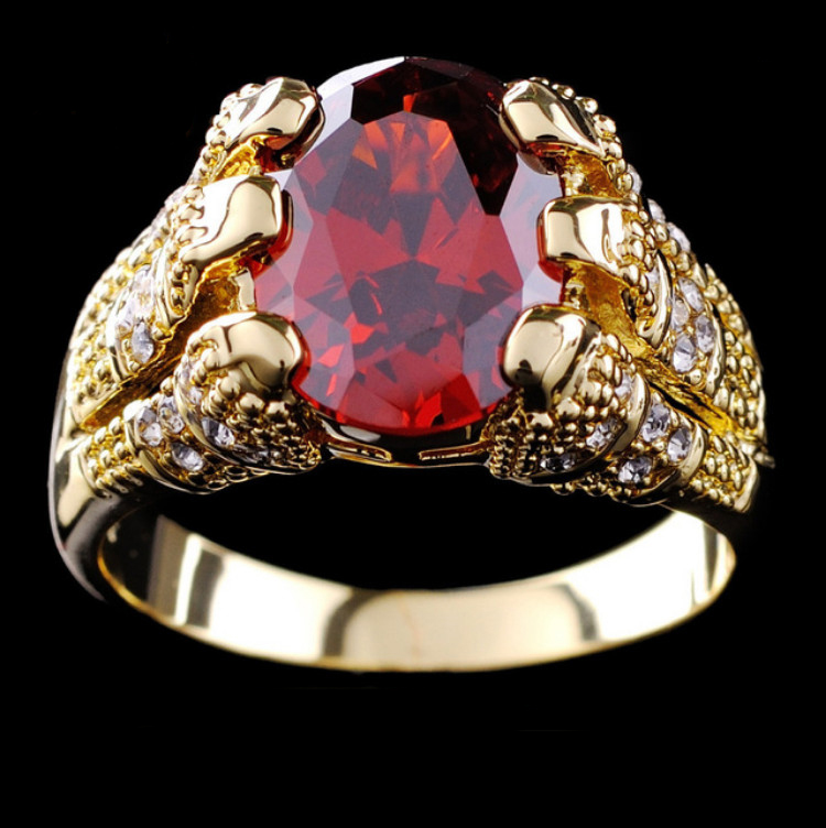 New Arrive Fashion Jewelry Brand New Ruby Men s 10KT Yellow Gold Plated Ring size9 10