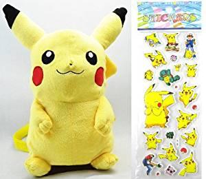 "Pokemon Plush Toy - Pikachu Backpack Around 46cm 18"" + Pokemon Sticker"