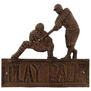 Aunt Chris' Products - Heavy Cast Iron ~ Play Ball Baseball Sign - Old Country Design - Indoor or Outdoor Use - Bronze Rustic
