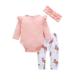 Cheap price fashion casual baby girl clothing sets boutique clothes sets for romper + pants 2pcs