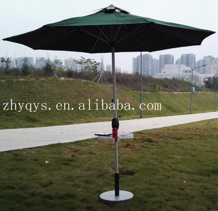Sling Outdoor Solar LED Patio Umbrella Tilt Tray 2 USB Charge Garden  Parasol Umbrella