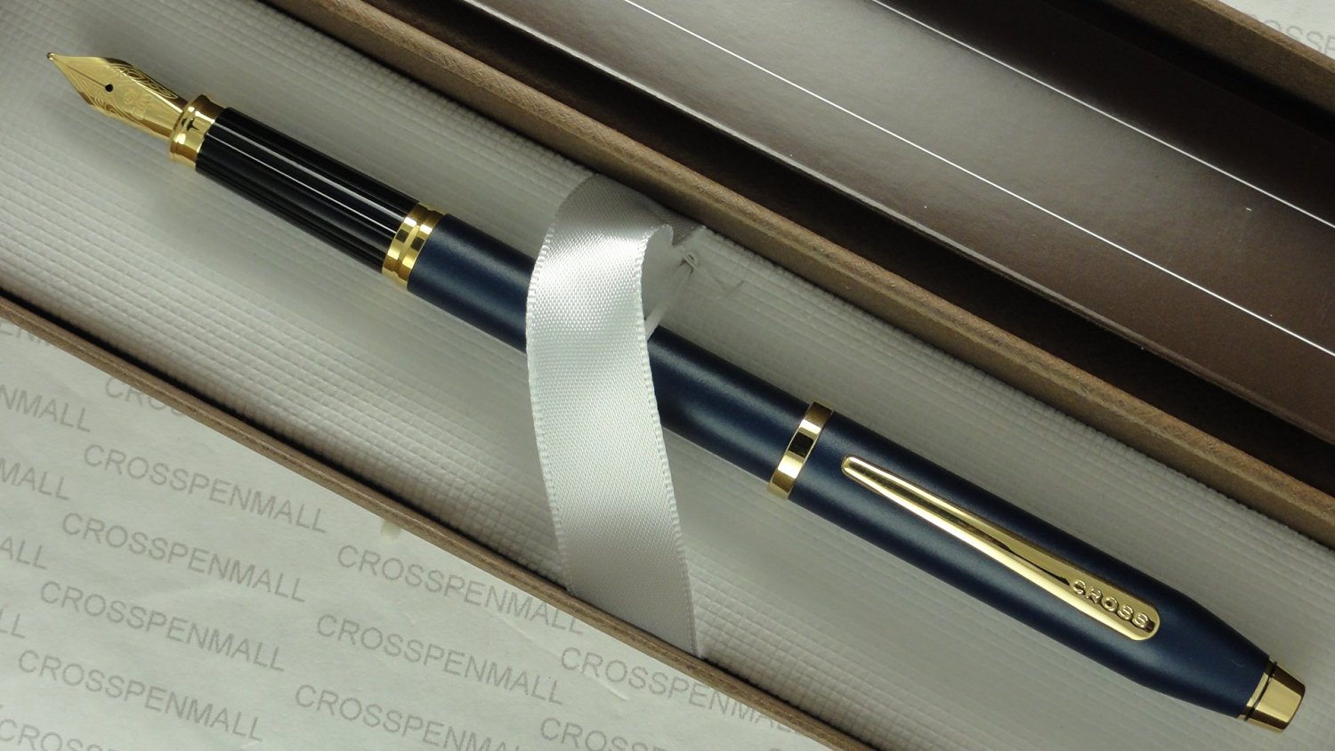 Cross Century II Limited Series , Satin Matte Blue Barrel with 23KT Gold Appointments , and 23KT Gold Medium nib Fountain Pen in Pristine Cross Gift Box